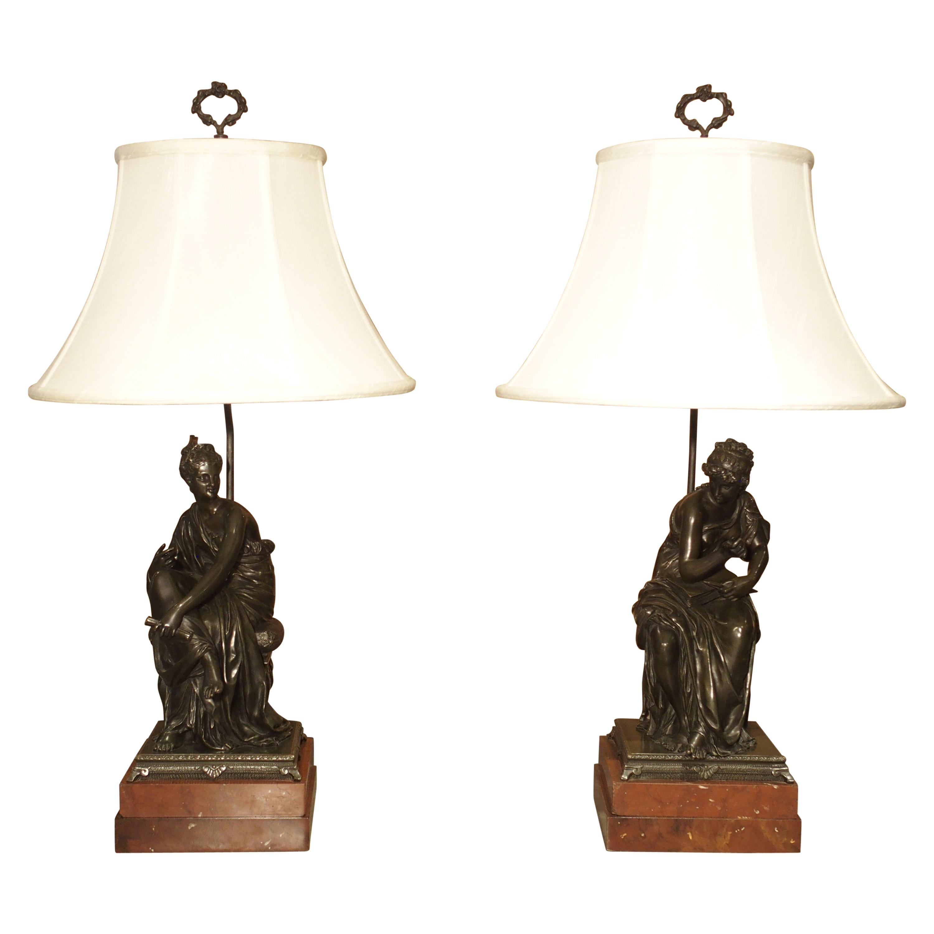 Pair of Antique Classical French Bronze Figural Table Lamps with Silk Shades
