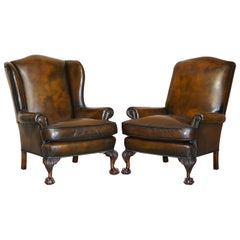 Pair of Antique Claw & Ball Restored Hand Dyed Brown Leather Wingback Armchairs