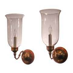Pair of Antique Clear Glass Hurricane Shade Wall Sconces