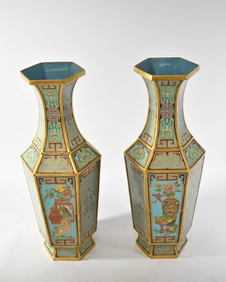 Pair Of Antique Cloisonn Gold Turquoise Hexagon Vases At 1stdibs
