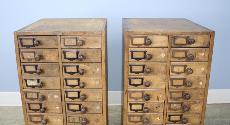 French Pair of Antique Collector's Drawers in Pine For Sale