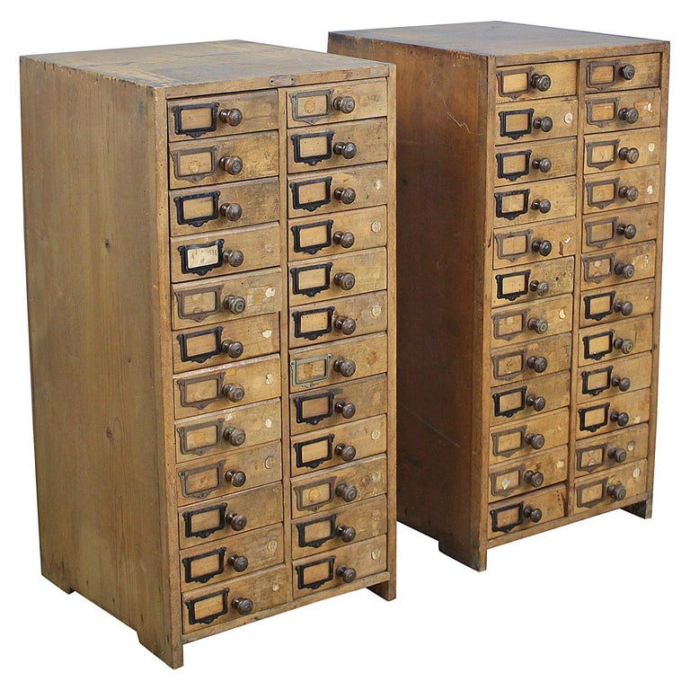 Pair of Antique Collector's Drawers in Pine For Sale