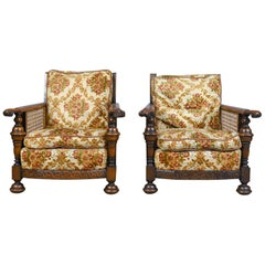 Pair of Antique, Conservatory Chairs, Oak, English, Bergere Armchairs