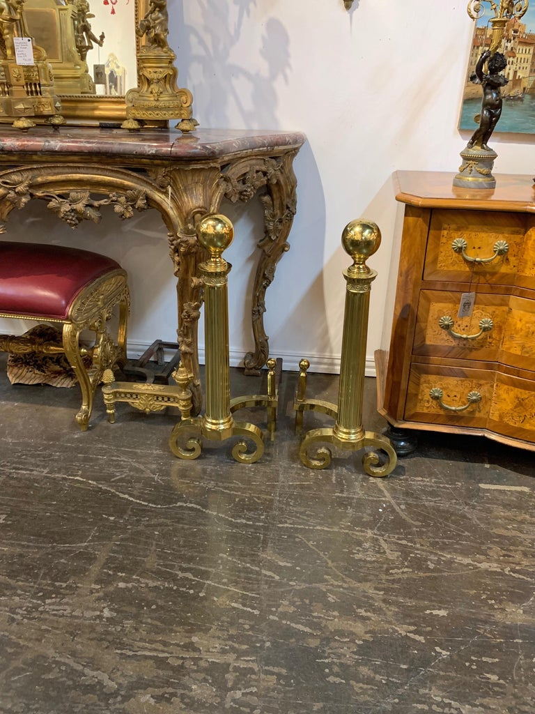 Pair of Antique Continental Brass Fluted Andirons For Sale 1