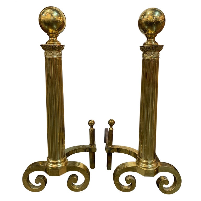 Pair of Antique Continental Brass Fluted Andirons For Sale