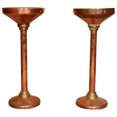 Pair of Antique Copper Brass Jardinière Stands, 19th Century