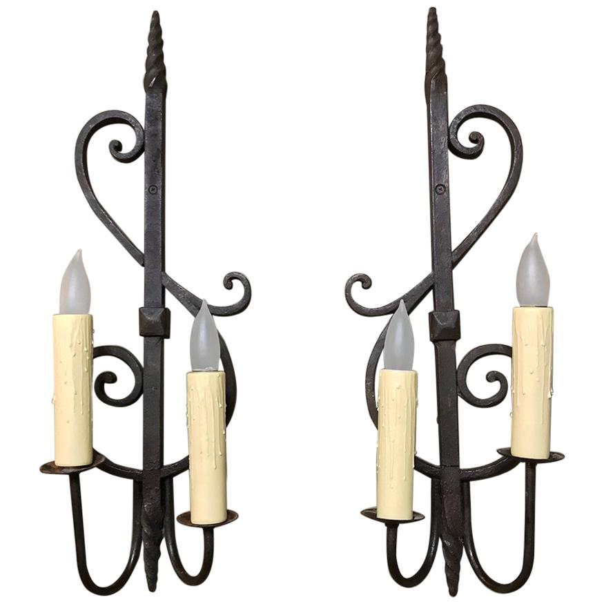 Pair of Antique Country French Provincial Wrought Iron Wall Sconces
