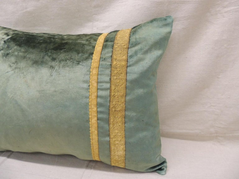 Regency Pair of Antique Crushed Velvet Green and Gold Bolsters Decorative Pillows For Sale