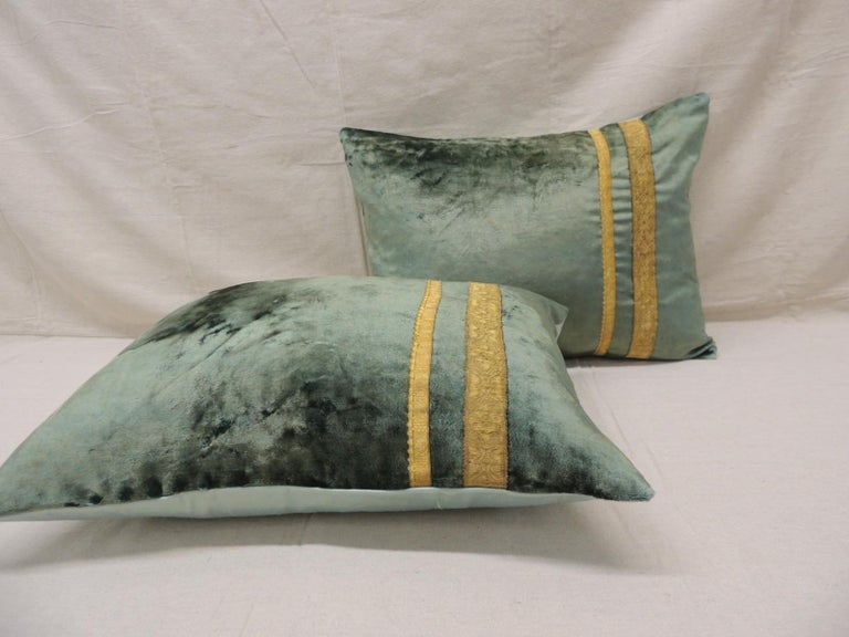 Hand-Crafted Pair of Antique Crushed Velvet Green and Gold Bolsters Decorative Pillows For Sale