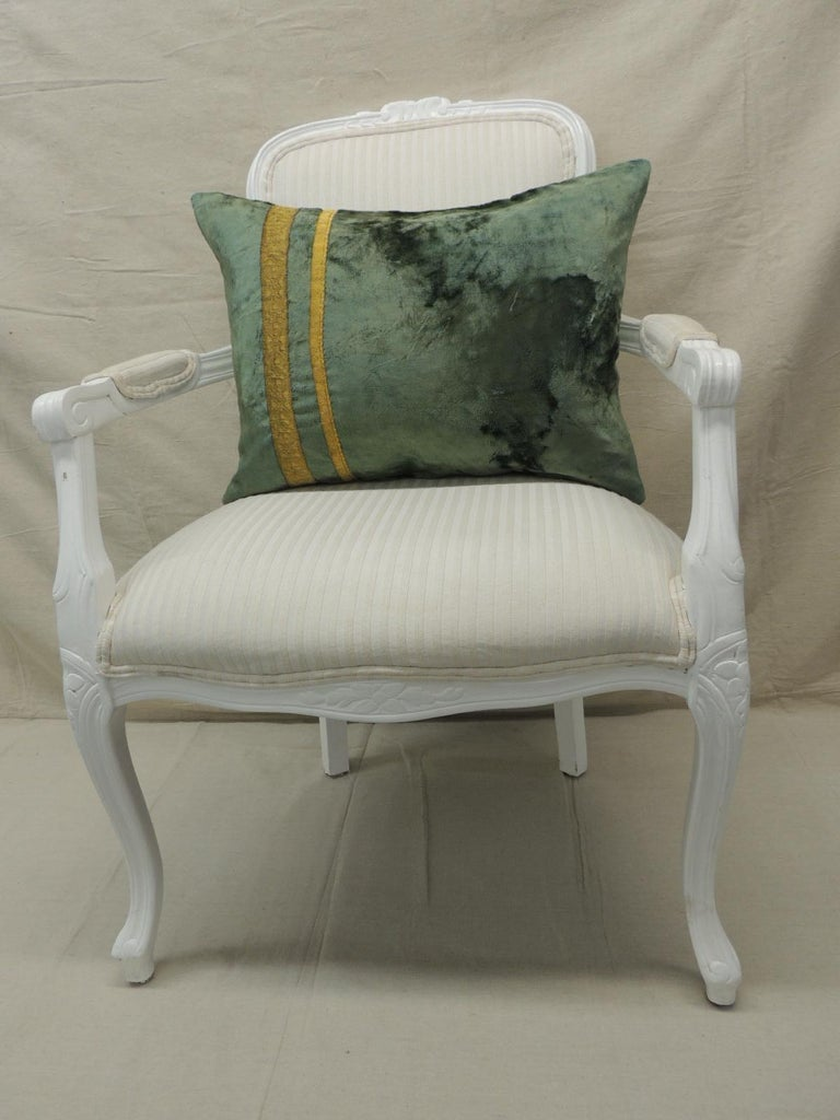 Silk Pair of Antique Crushed Velvet Green and Gold Bolsters Decorative Pillows For Sale