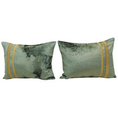 Pair of Antique Crushed Velvet Green and Gold Bolsters Decorative Pillows