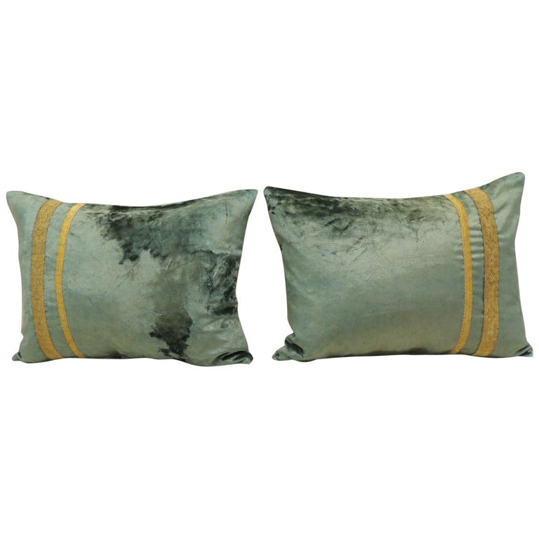 Pair of Antique Crushed Velvet Green and Gold Bolsters Decorative Pillows For Sale