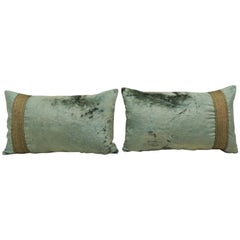 Pair of Antique Crushed Velvet Green and Gold Lumbar Decorative Pillows