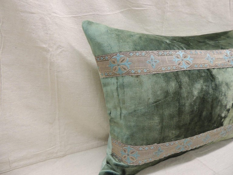 Regency Pair of Antique Crushed Velvet Green and Silver Bolsters Decorative Pillows For Sale