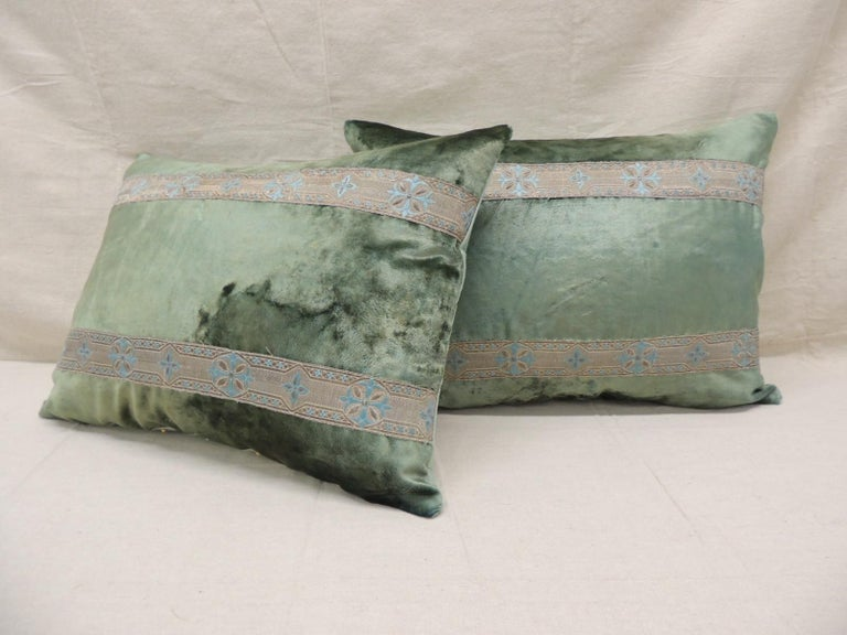 French Pair of Antique Crushed Velvet Green and Silver Bolsters Decorative Pillows For Sale