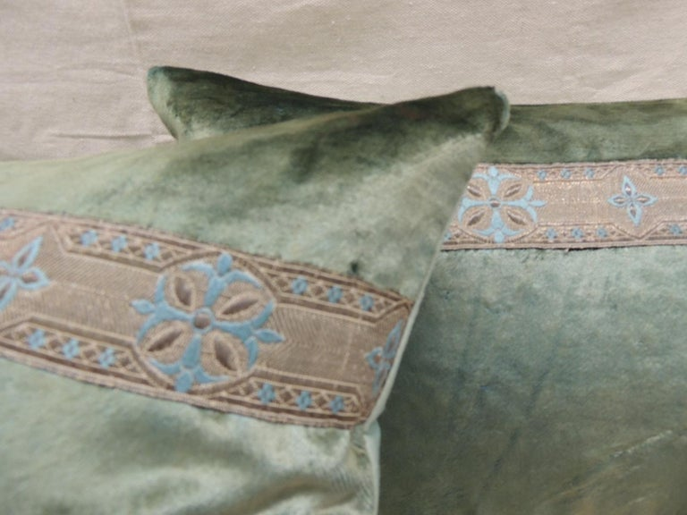 Hand-Crafted Pair of Antique Crushed Velvet Green and Silver Bolsters Decorative Pillows For Sale