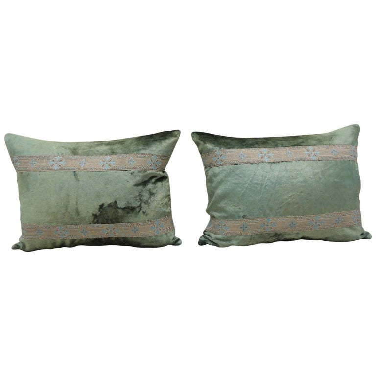 Pair of Antique Crushed Velvet Green and Silver Bolsters Decorative Pillows For Sale