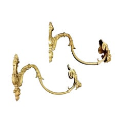French Pair of Antique Curtains Hooks 'Embrasses' in Gilded Bronze and Chiselled