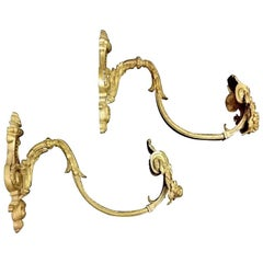 Pair of Antique Curtains Hooks 'Embrasses' in Solid Gilded Bronze and Chiseled