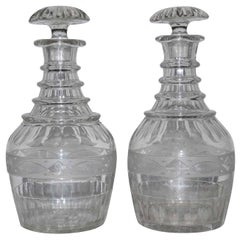Pair of Antique Cut Crystal Georgian Style Decanters