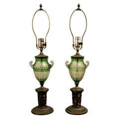 Pair of Antique Czech Green Cut to Clear Table Lamps with Gilt Bronze Bases