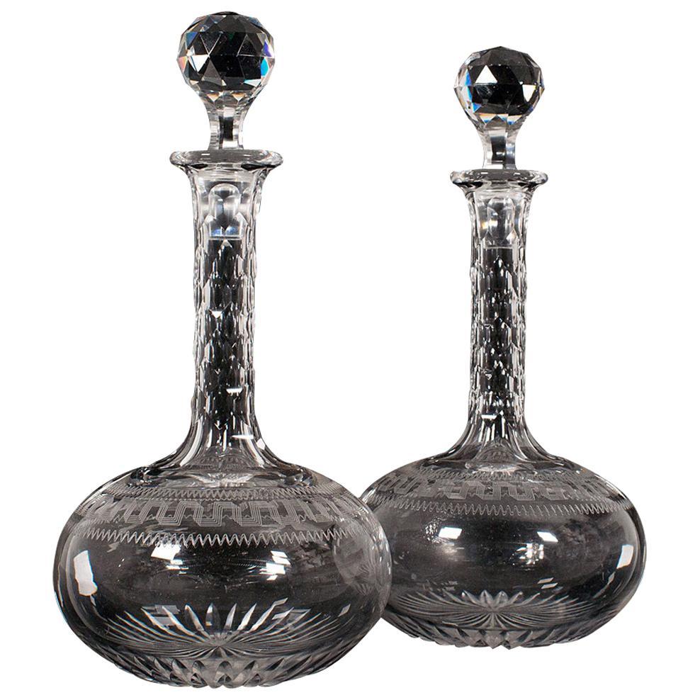 Pair of, Antique Decanters, English, Glass, Spirit Vessel, Victorian, circa 1900