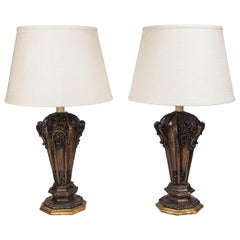 Pair of Antique Decorative Carved Wood Architectural Salvage Table Lamps