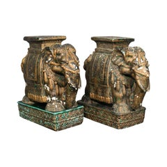 Pair of Antique Decorative Elephant Side Table, Indian, Ceramic, Occasional