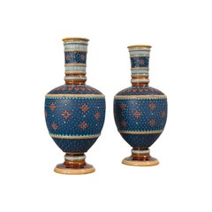 Pair of Antique Decorative Vases, German, Ceramic, Villeroy & Boch, Victorian