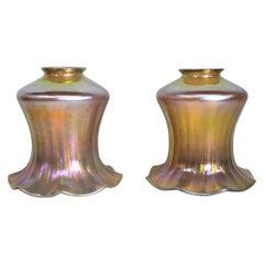 Pair of Antique Deep Marigold Iridescent Fluted Art Glass Lamp or Light Shades