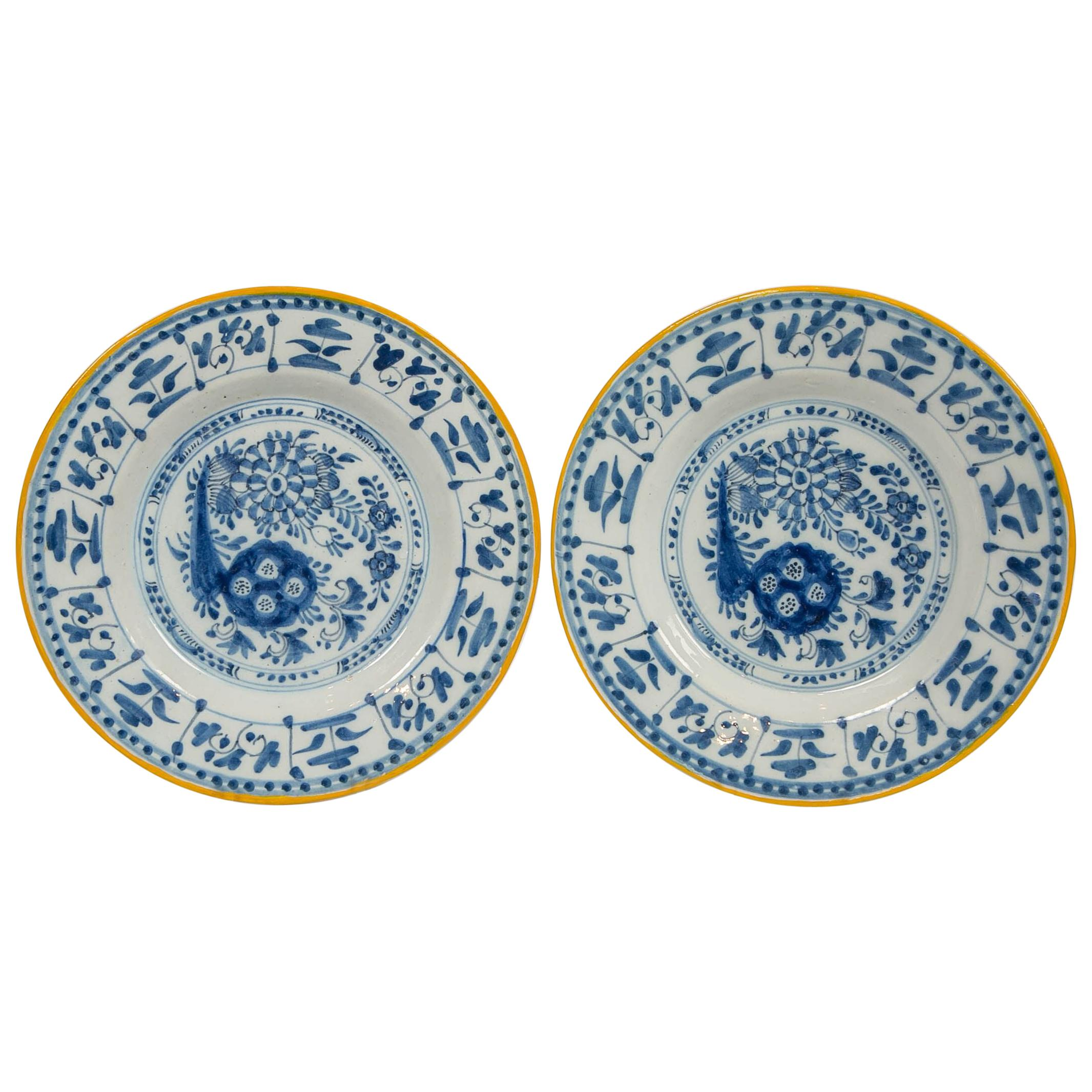 Pair of Antique Delft Blue and White Dishes Hand Painted Made Netherlands