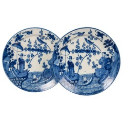 Pair of Antique Delft Chargers with Chinoiserie Scene, Netherlands circa 1693
