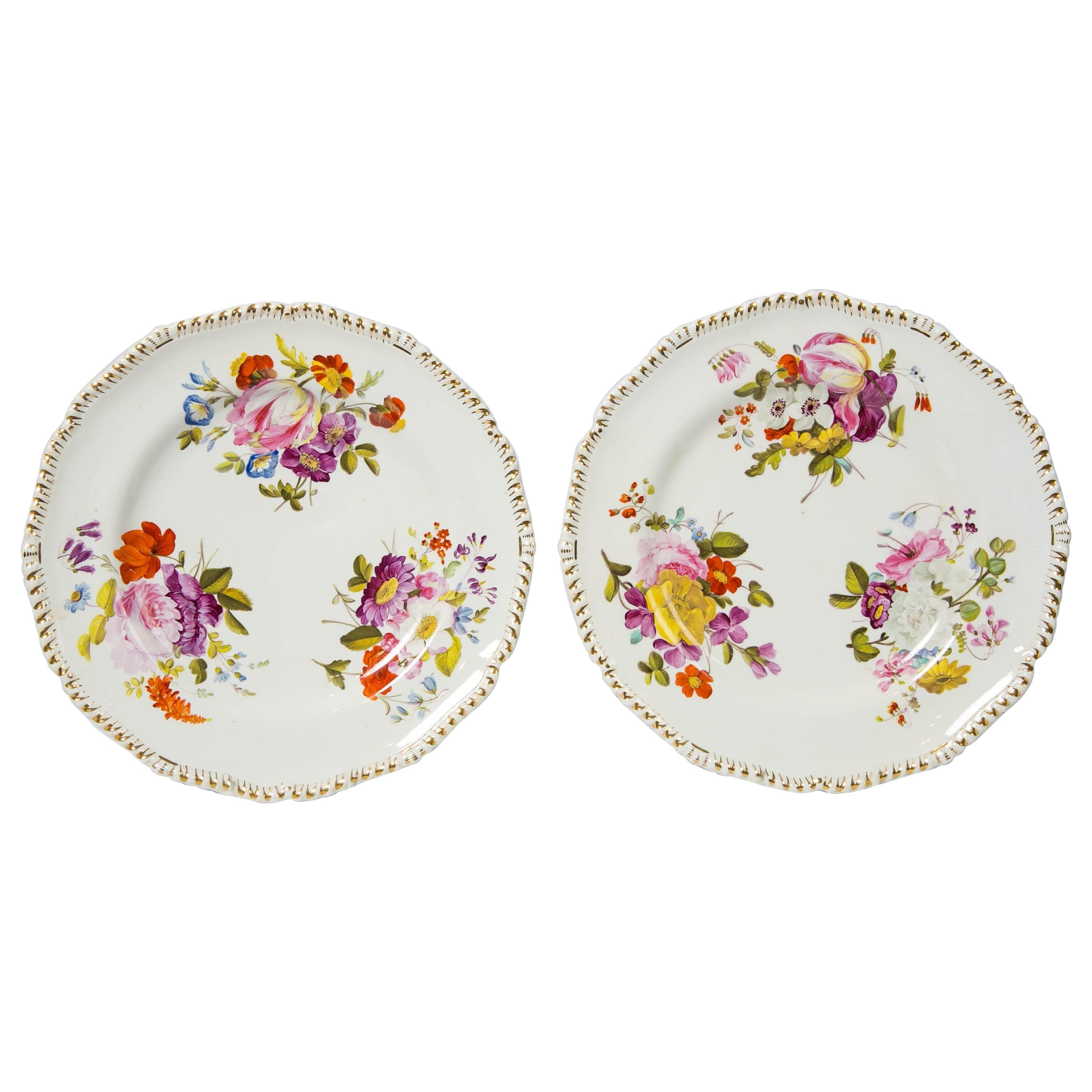 Pair of Antique Derby Dishes with Flowers Made in England, circa 1825