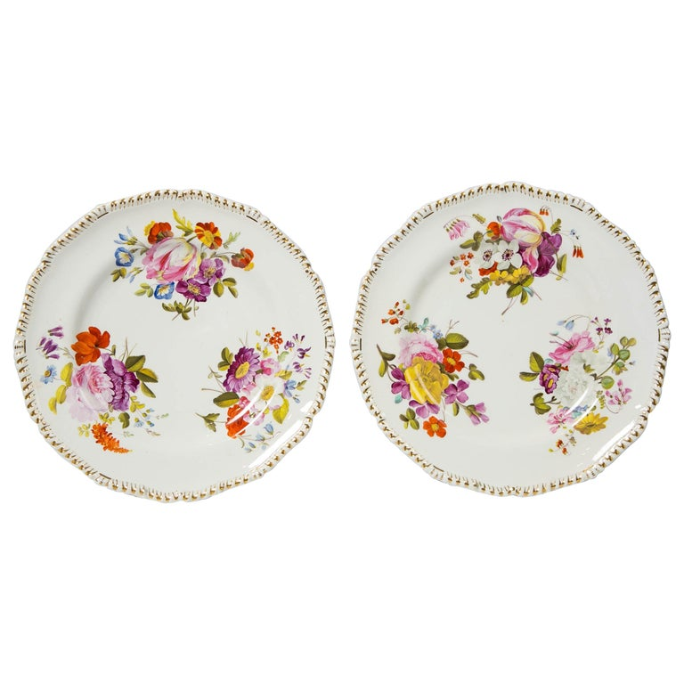 Pair of Antique Derby Dishes with Flowers Made in England, circa 1825 For Sale