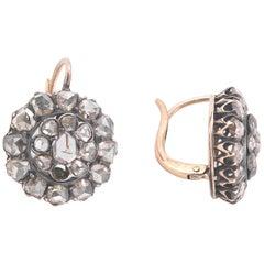 Pair of Antique Rose Diamond Earrings, circa 1880