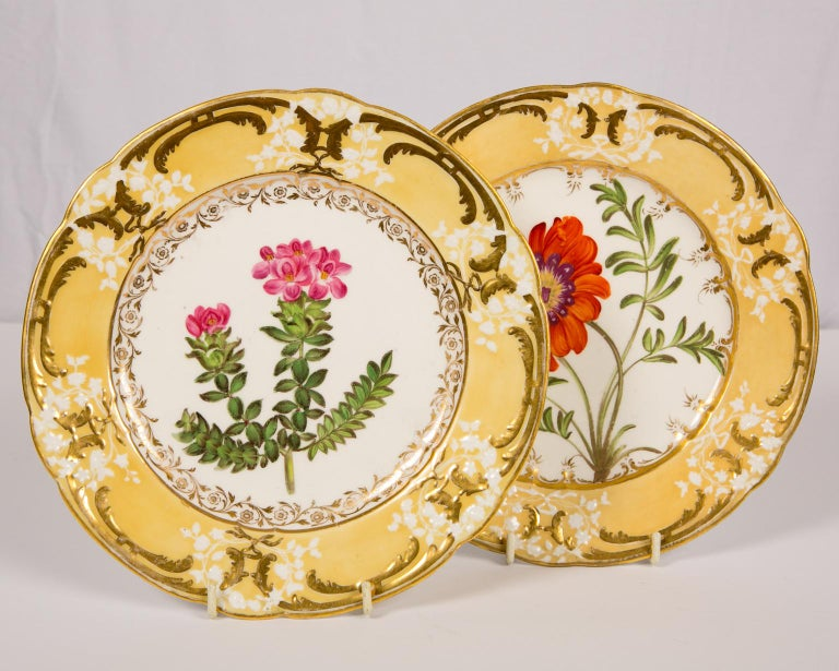 Rococo Revival Pair of Antique Dishes with Single Hand-Painted Flower circa 1825 For Sale