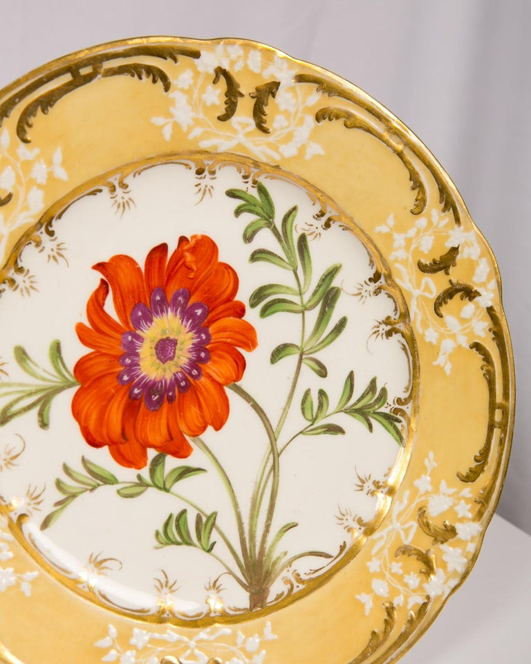 Pair of Antique Dishes with Single Hand-Painted Flower circa 1825 For Sale 1