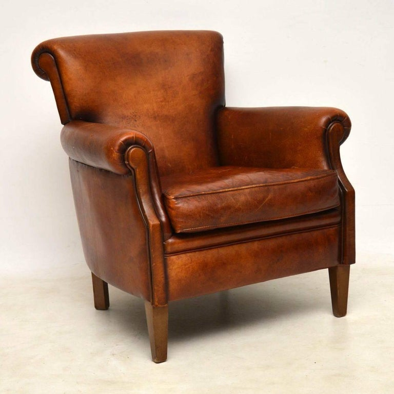 Pair of Antique Distressed Leather Armchairs at 1stdibs