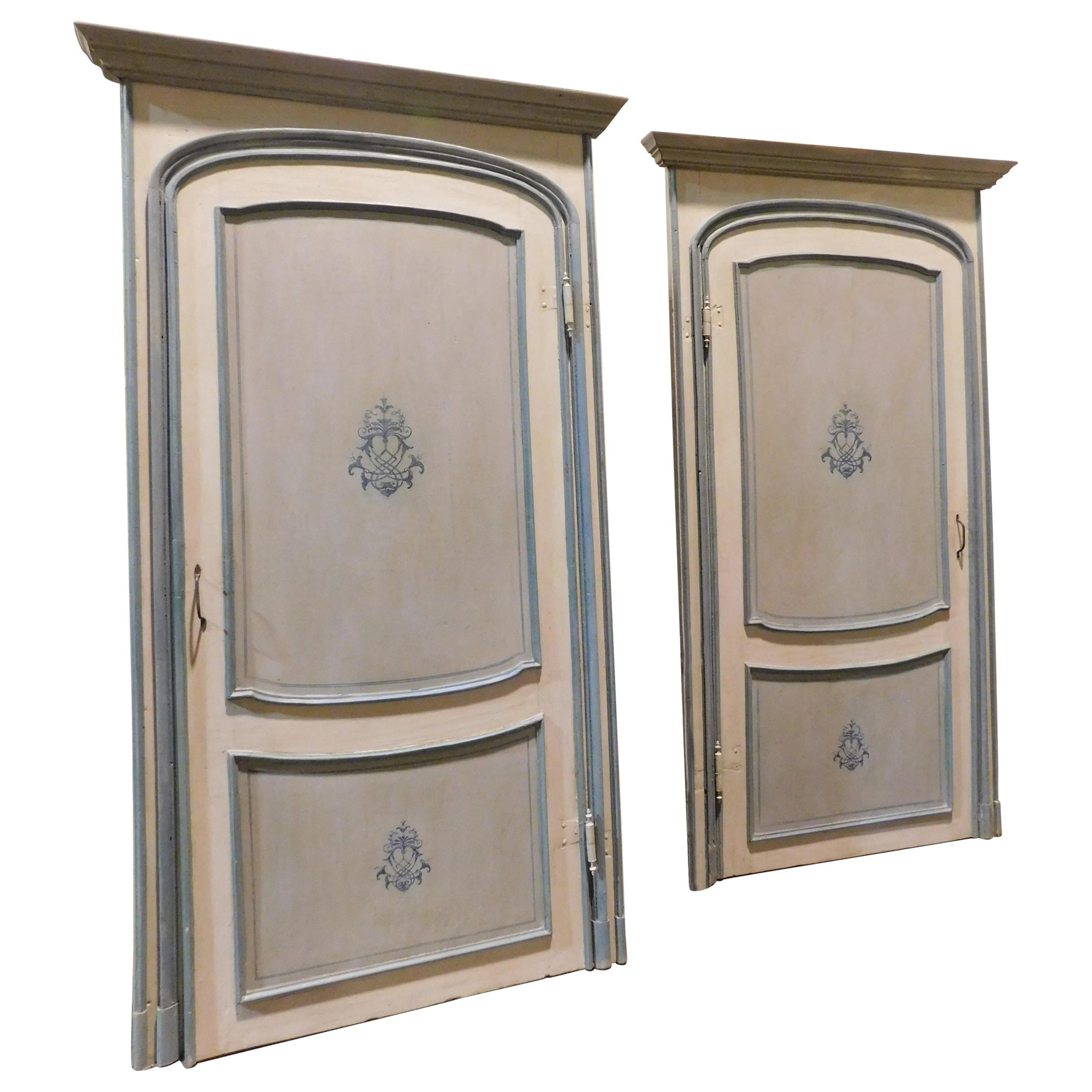 Pair of Antique Doors Painted with Frame, Blue and Gray with Frame, 1700, Italy