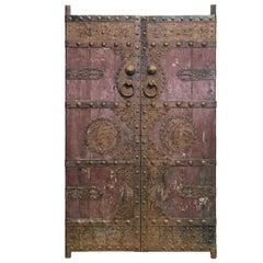 Paar Antike Türen mit Aufwendigen Eisen Motiven