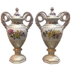 Pair of Antique Dresden Porcelain Snake Handled Urns