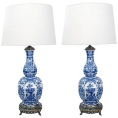 Pair of Antique Dutch Delftware Blue and White Double-Baluster Lamps
