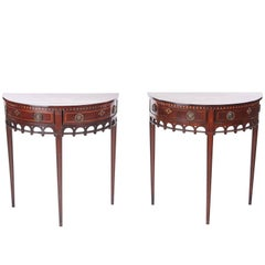 Pair of Antique Dutch Mahogany Inlaid Console Tables