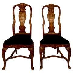 Pair of Antique Dutch Marquetry Queen Anne Walnut Chairs, circa 1810-1820