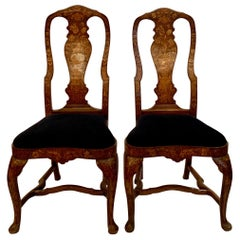 Pair of Antique Dutch Marquetry Queen Anne Walnut Chairs, circa 1810-1820