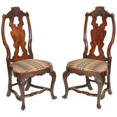 Pair of Antique Dutch Queen Anne Style Side Chairs