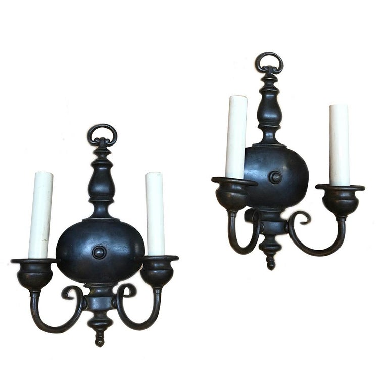 Pair of Antique Dutch Sconces In Good Condition For Sale In New York, NY