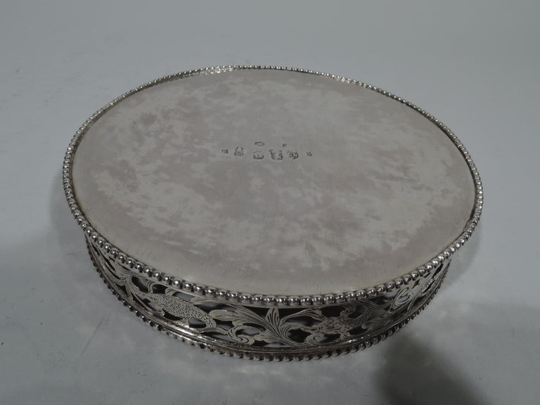 Pair of Antique Dutch Silver Wine Bottle Coasters For Sale 2