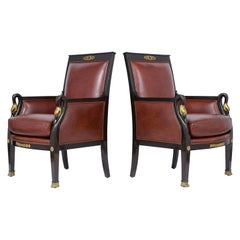 Late 19th Century Pair of Leather Chairs