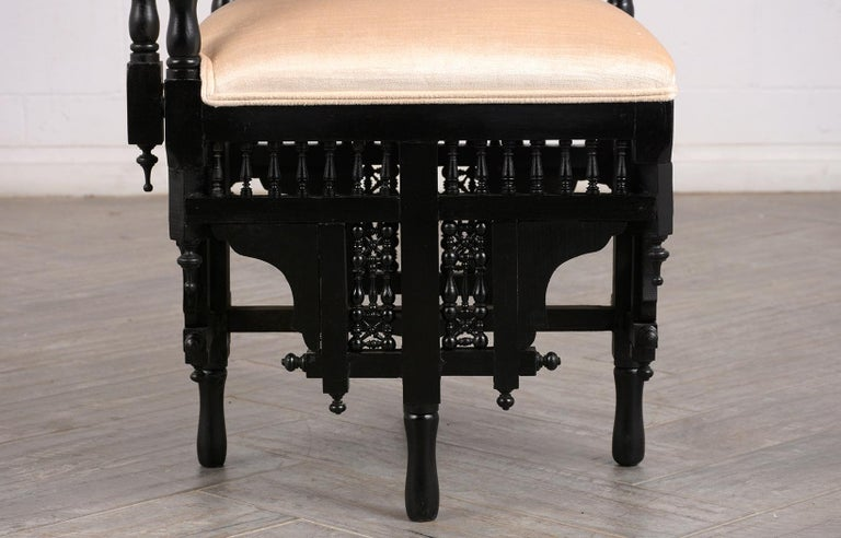 Pair of Antique Ebonized Syrian Style Corner Chairs For Sale 3